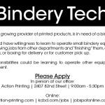 Now Hiring Bindery Tech
