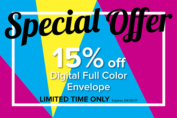 Digital Full Color Envelope Special Until September 30th
